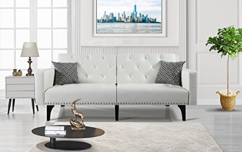 Modern Tufted Bonded Leather Sleeper Futon Sofa with Nailhead, White - Leather Bed Set