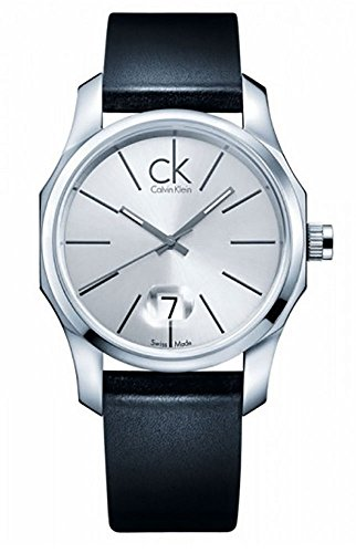 Calvin Klein Biz K7741141 42 Stainless Steel Case Black Leather Men's Quartz Watch