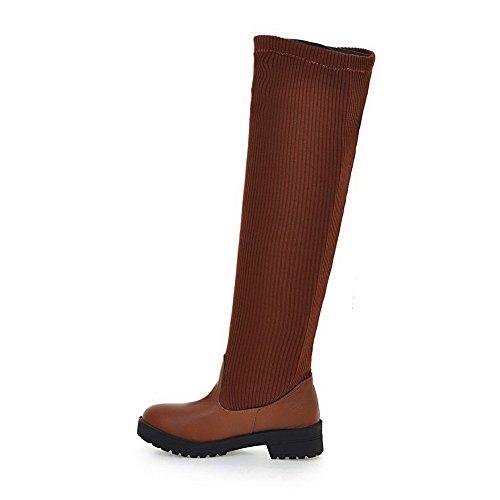AgooLar Damen Hoch-Spitze Niedriger Absatz Ziehen auf Gemischte Farbe Stiefel, Braun, 35