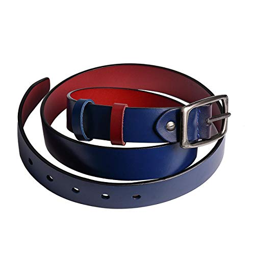 Reversible Women Western Leather Belt for Jeans Pants Dress Ladies leather 28mm Belt for Girls with Pin Buckle -
