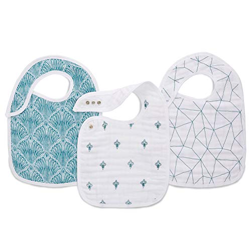 aden + anais Snap Baby Bib, 100% Cotton Muslin, 3 Layer Burp Cloth, Super Soft & Absorbent for Infants, Newborns and Toddlers, Adjustable with Snaps, 3 Pack, Paisley - Teal