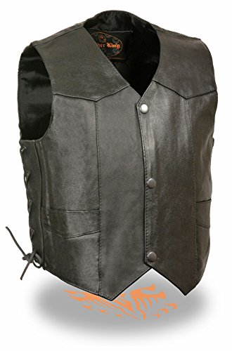 Milwaukee Leather - Kids Basic Side Lace Three Snap Leather CROPPED Vest (Black, 2X) (Heavyweight Lace)