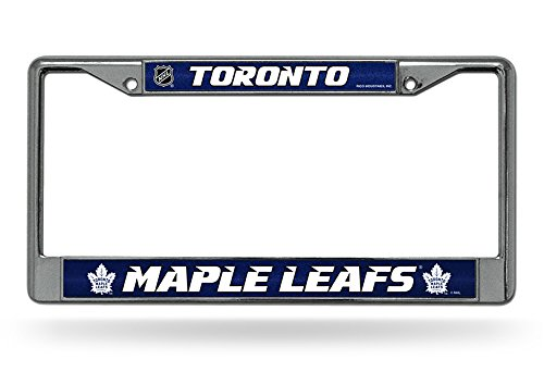 (NHL Toronto Maple Leafs Bling Chrome License Plate Frame with Glitter Accent)