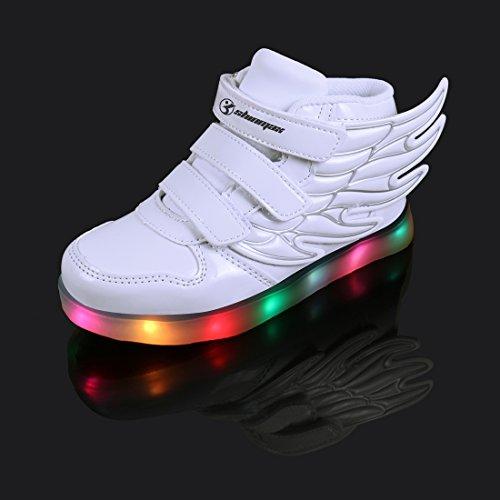Angin-Tech Multi-Color-Blink LED Kinderschuhe Turnschuhfreizeitschuh Leucht Kinderschuhe für Dank, der Weihnachten Halloween mit CE-Zertifikat Weiß2