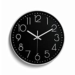 Foxtop Black Wall Clock, Silent Non-ticking Decorative Wall Clock Battery Operated Modern Style for Kitchen Living Room Bedroom Office (12 inch, Black Dial, Silver Frame)
