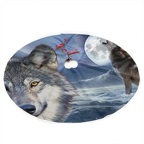 Rtfuh-oo Christmas Tree Skirt, Wolf Traditional Theme Festive Holiday Design for Xmas Party Decoration