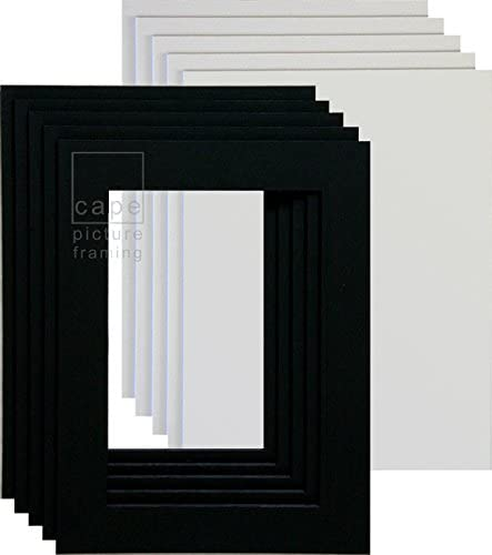 Pack of 5 Picture Mounts with Backs Bright White 14 x 11 to fit A4 or 11 x 8