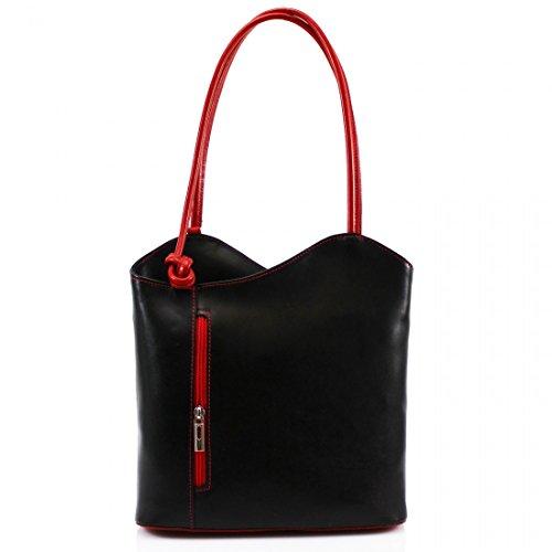 Shoulder Leather VP024 Women Ladies Handbag Black Red Convertible Genuine Vera Pelle Italian Backpack qwnRRXYa