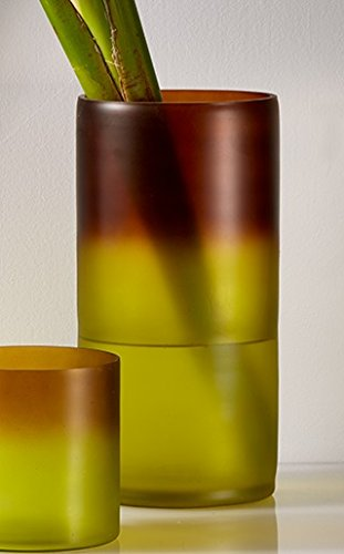 12in Green Rust Frost Cylinder Vase Frost Glass Cylinder