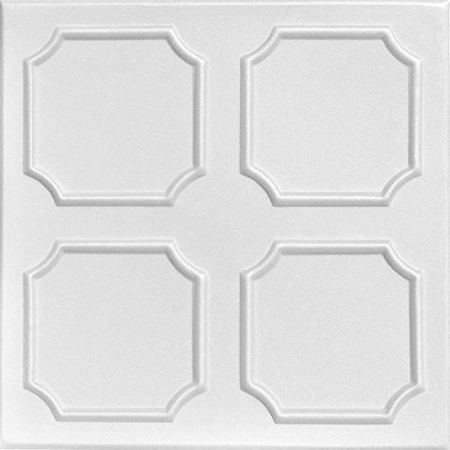 A la Maison Ceilings 1139 Bostonian - Styrofoam Ceiling Tile (Package of 8 Tiles), Plain White