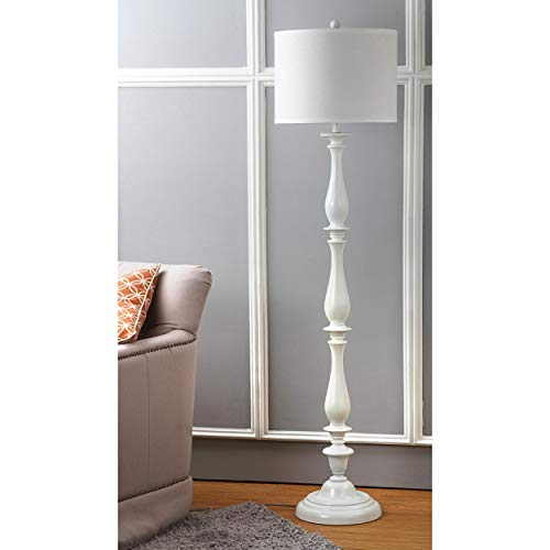 - White 62 Floor Lamp Plastic, Curved Reading Light with Shade Accent Standing Lamp Modern for Bedroom Living Room