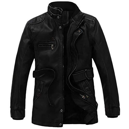 Cappotto Di Pelle Giacca Uomo Giacche Abbigliamento Finta Nner Pu Inverno Schwarz