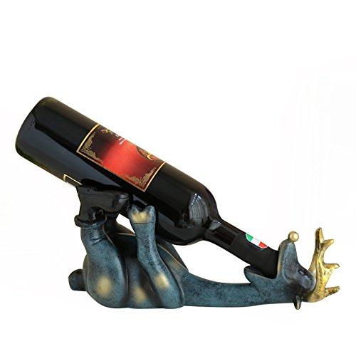 NACHEN Deer Wine Bottle Holder/Rack,Drinking Black Bear Wine Bottle Holder In Rustic Animal Sculpture & Statue Wine Stands,Blue,32X14x12cm by NACHEN