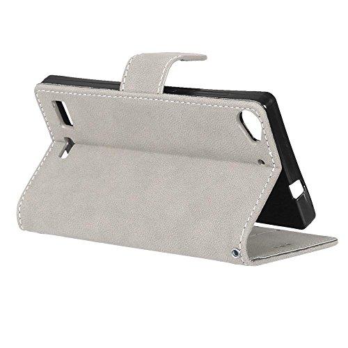 YHUISEN Estilo retro de color sólido Premium PU de cuero de la cartera de la caja Flip Folio cubierta protectora de la caja con ranura para tarjeta / Stand para Lenovo Vibe X2 ( Color : Brown ) White