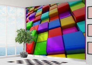 Bright Coloured 3D Blocks Wallpaper Wall Mural Art   2XL