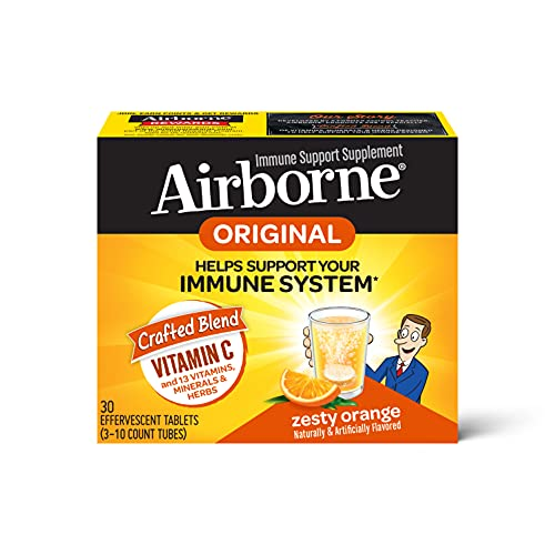 Airborne 1000mg Vitamin C with Zinc Effervescent Tablets, Immune Support Supplement with Powerful Antioxidants Vitamins…