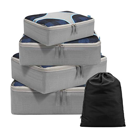 Packing Cubes 4 Set Travel Luggage Organizers with Durable Laundry Bag, Gray
