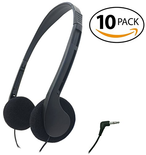 SmithOutlet 10 Pack Low Cost Headphones for School / Library / Classrooms