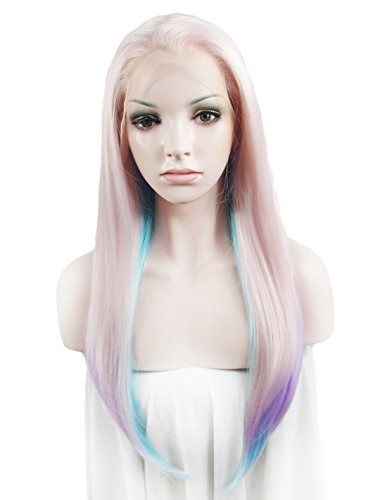 Lace Wig Multicolor Long Straight Heat Resistant Synthetic Lace Front Wig ()