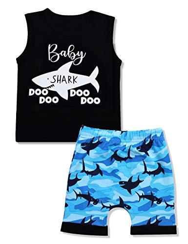 Baby Boy Clothes Baby Shark Doo Doo Doo Print Summer Cotton Sleeveless Outfits Set Tops + Short Pants 2-3 T
