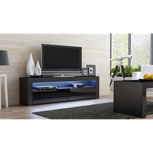 tv console milano classic black tv stand up to 70 inch flat tv screens led lighting and high gloss finish front doors mesa tv milano para televisores - Unique Tv Stands
