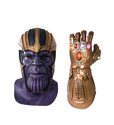 Thanos Mask with Helmet Gauntlet Set Latex Adult Teens Avengers Halloween Cosplay Costume Prop ()