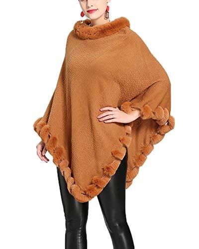 Otoño Mujeres Mantón Cabello Hecho De Cape Invierno Yellow Faux Fur Capa Punto Folobe Y Cabo dvHqSwvt