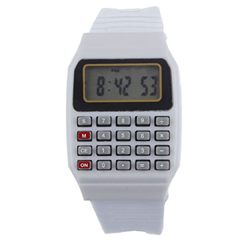 Wrist Calculator,Lookatool Unsex Silicone Multi-Purpose Date Time Electronic Wrist Calculator Watch White