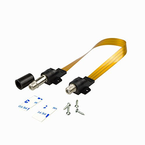 Elanx Water Proof RG6 Jumper Cable for HDTV, CATV & Satellite Appliances, Ghost Wire Coax F Type Cord, Extremely Slim/Flat Cable for Window or Door Passing Through (Coax Flat Wire)