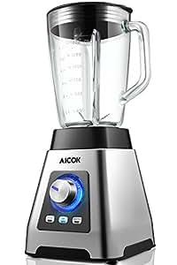 Aicok Batidora de Vaso, 7-en-1 Batidora para Smoothie, Vidrio Resistente al Calor 1.5L, 15 Velocidades & 3 Programas (1000W, 24000rpm, sin BPA), 6 Cuchillas de Acero Inoxidable