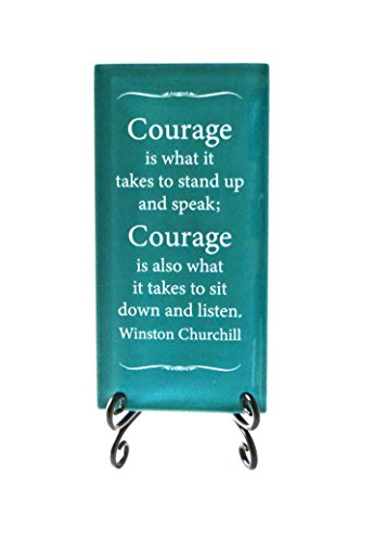 Lifeforce Glass Courage is What It Takes Inspirational Glass Plaque. Encouragement and Motivation for Your Desk