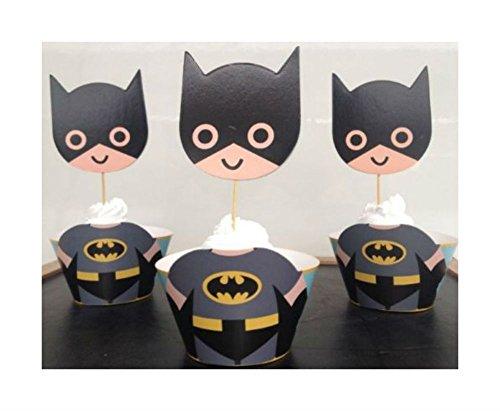 Batman Superhero Cupcake Wrappers Toppers