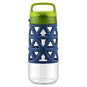 Ello Skylar Tritan Plastic Water Bottle, Navy/Green, 16 oz
