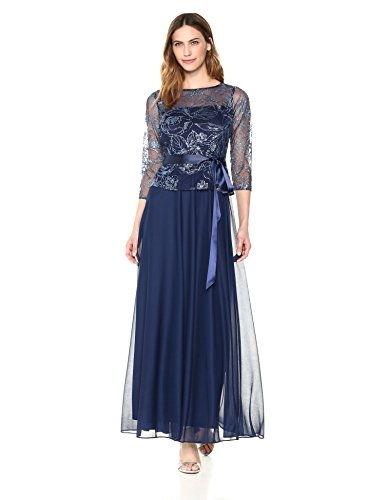Emma Street Women's Glitter Mesh and Chiffon Gown, Navy, 16