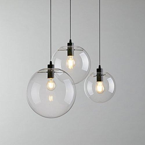 E27 Industrial clear Glass Globe Shade Pendant Light Modern Kitchen LOFT Hanging Light-1 Light (30cm) Glass Modern Globe