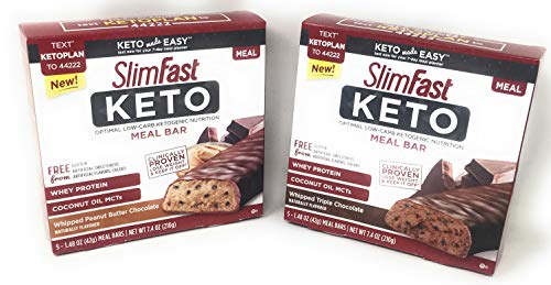 SlimFast Keto Meal Replacement Bar Bundle of Two 5 Bar Boxes: Whipped Triple Chocolate and Whipped Peanut Butter Chocolate
