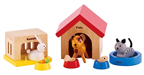 Hape Family Pet Kid toy,Mini Wooden Animal Dollhouse Set,Dog