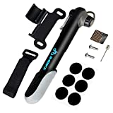 INBIKE Mini Bike Pump and Glueless Puncture Repair Kit, Fits Presta and Schrader Reversible Valve With 120 PSI/8.3 Bar Max Pressure Portable, Quick and Easy To Use Black Alloy