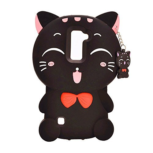 XKAUDIE(TM) 3D black Lucky Fortune Cat Kitty with Cute Bow Tie Silicone Rubber Phone Case Cover for LG G Stylo 2 Plus/ LG Stylus 2 Plus MS550