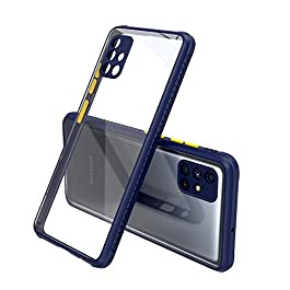 AE Mobile Accessories Back Cover for Samsung M51, Miqilin Series Tranparent Shock Proof Smooth Rubberized Matte Hard Back Cover (Blue)