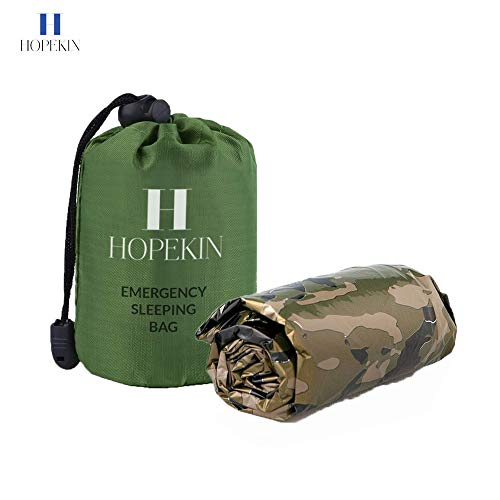 - HOPEKIN Compact Mylar Emergency Survival Sleeping Bag | Survival Bivy Sack with Portable Drawstring Bag | 100% Waterproof Ultralight Thermal Emergency Blanket for Body-Heat Reflection (Camouflage)