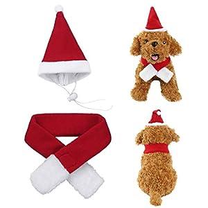 Alvivi Animaux de Compagnie Noël Ornements Mignons Chien Chapeau écharpe Rouge Polaire Chapeau de Noël Cape Costume Père Noël Chat Chiot Accessoires 19