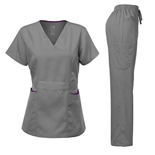 Medical Uniform Women's Scrubs Set Stretch Contrast pocket Pewter S
