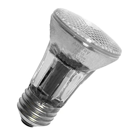 Anyray A1767Y (5-Bulbs) 50-Watts PAR16 Narrow Flood Halogen Light Bulb 130V Medium Screw E26 50W 120V Dimmable (35w Halogen Red Light)