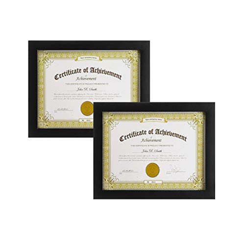 (Golden State Art, Set of 2,Wooden Document Frame with Real Glass - Holds 8.5 by 11-Inch Certificate,- Black)