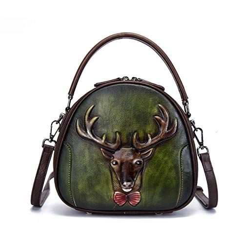 Vintage Crossbody Bags for Women Genuine Leather Messenger Bag Animal Print Tote Shoulder Handbag Female Top Handle Bag,Green