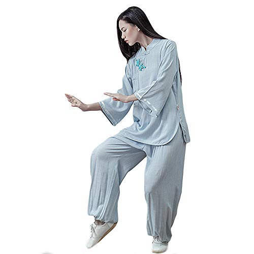 KSUA Womens Kung Fu Uniform Tai Chi Suit Martial Arts Suit Zen (Blue, US XL)