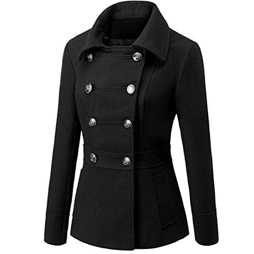 Partiss Damen Frauen Stilvolle Zweireihigen Baumwolle Gefuetterte Jacke,Tag L/EU S,Black