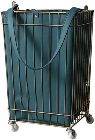 ベッドルームレザー汚れた衣類収納バスケット汚れたハンマー洗濯用バスケットシェルフマガジンラック 玄関収納 (Color : Blue, Size : 36*36*58/14*14*23inch)