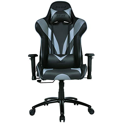 ZENEZ Gaming Chair Video Game Chairs Racing Style PU Leather High Back Adjustable with Headrest and Lumbar Support for Long Sessions of Computer Gaming or Office Working (Black)